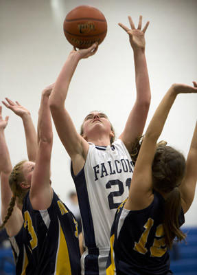 Salisbury's Meagan Eripret shoots against Notre Dame in their girls basketball game at Salisbury High School on Tuesday.