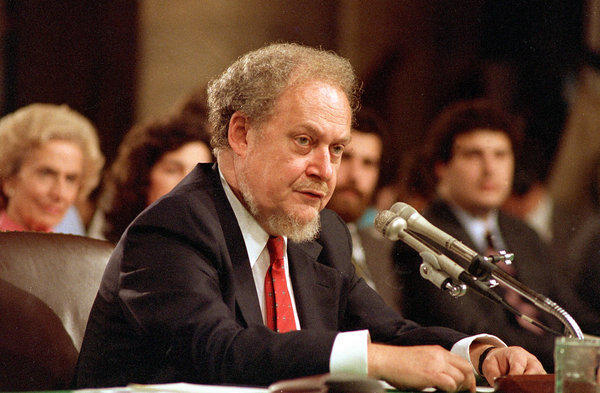 Robert Bork, shown at 1987 hearings on his nomination to the Supreme Court, died Wednesday.