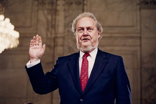 Robert Bork, who had been nominated by President Reagan to be an associate justice of the Supreme Court, is sworn in at his confirmation hearing before the Senate Judiciary Committee on Sept. 15, 1987.