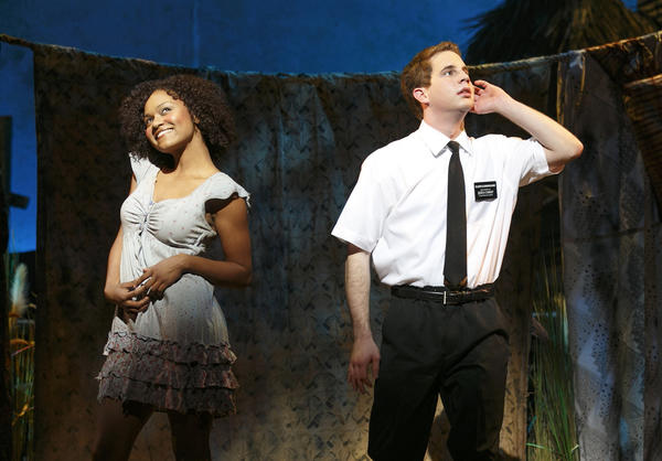 Syesha Mercado, left, and Ben Platt in The Book of Mormon National Tour.