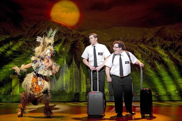 Rema Webb, Andrew Rannells, Josh Gad in Book of Mormon at the Eugene O'Neill Theatre in New York.