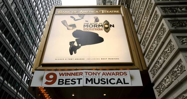 The Book of Mormon began preview performances at the Bank of America Theatre on Dec. 11.