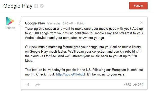 Google Music's offer to let users store up 20,000 of your songs in the cloud for free.