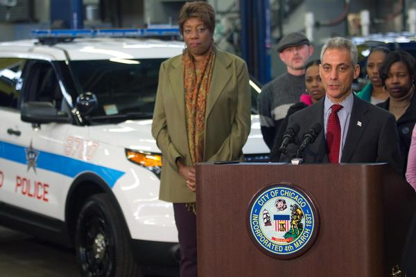 Mayor Rahm Emanuel speaks about the new Ford Interceptors dispatched this week at a police maintenance garage on the south side of Chicago.