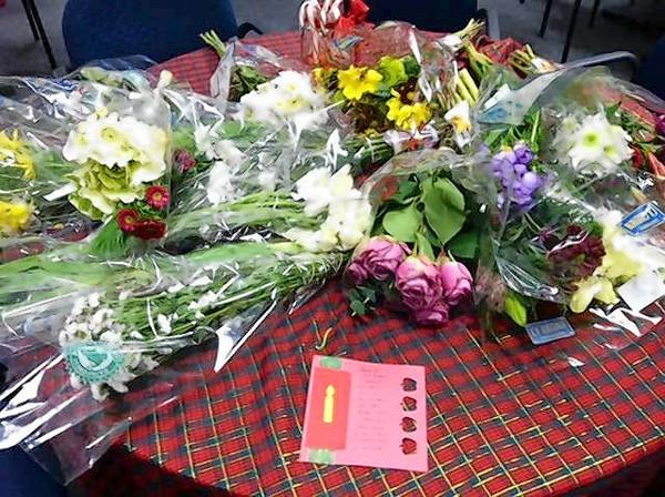 Flowers were left on the doorstep of Harbour View School by two area businesses thanking the teachers.
