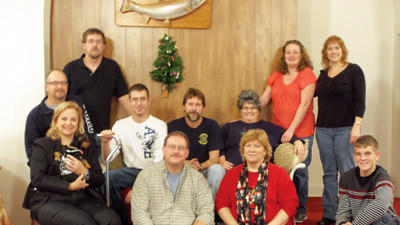 The members of the Salisbury Church of the Brethren will perform Cricket County Christmas this weekend. From left, front row are: Martha Albright, Mike Swick, Tammy Hoover, Kendall Swick. Middle row: Mark Albright, John Peck, John Harshberger, Crystal Hutzel. Back row: Eric Hoover, Patty Knopsnyder and Amy Harshberger. Not shown is Steve Hoover, set design.
