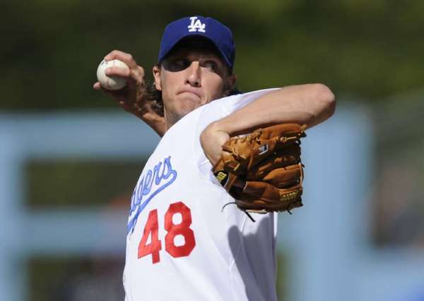 John Ely pitching for the Dodgers in 2010.