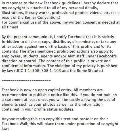 "If you're on Facebook, chances are you saw at least one friend post some legalese-looking status update that claimed they were declaring copyright over all the things on their profile, in light of the social network becoming a publicly traded company. Legit? No. Effective at illustrating the herd mentality that can sometimes occur through social networks? Most definitely. The rumor grew to the point that Facebook was compelled to <a href=""http://www.latimes.com/business/technology/la-fi-tn-facebook-copyright-hoax-20121126,0,3384882.story"">debunk it</a>."