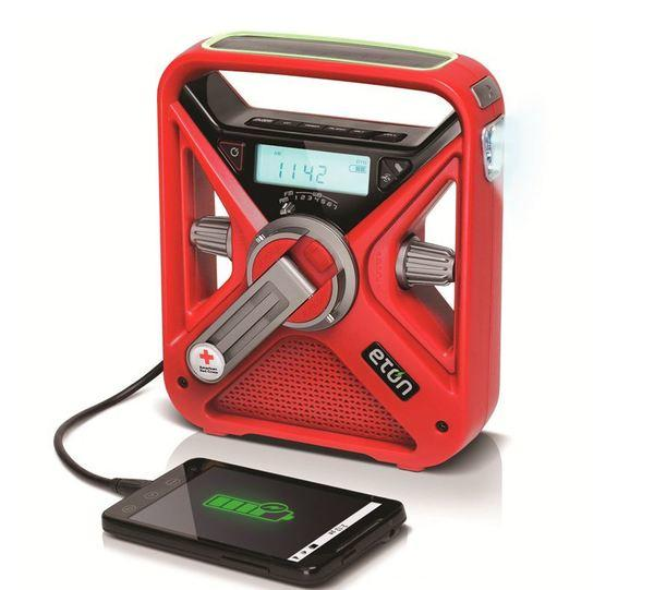 An emergency radio like this one from Eton uses solar power or a hand crank to charge your cellphone in case the end of the world cuts off your electricity.