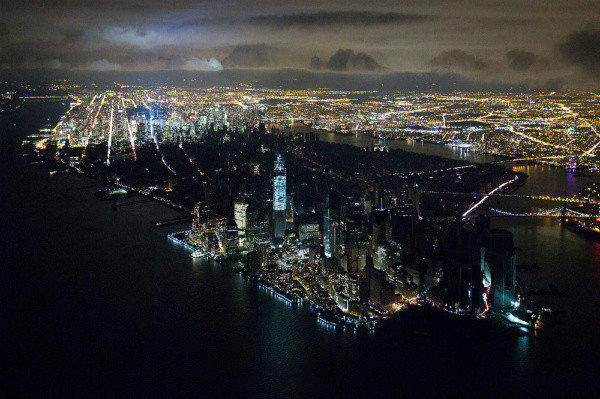 Iwan Baan's photograph shows the Lower Manhattan skyline plunged into darkness after Superstorm Sandy.