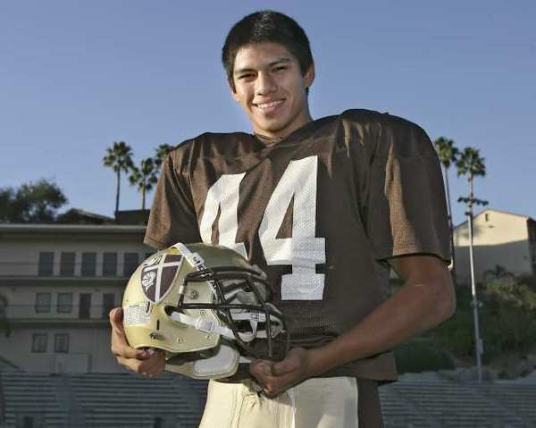 ARCHIVE PHOTO: Former St. Francis High School linebacker Chris Cabrera at the La Caada Flintridge school in 2009. Cabrera was selected to the All-Southern California Intercollegiate Athletic Conference first team.