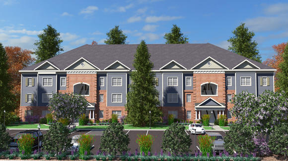 A rendering of an apartment building at Reece Crossing, an barracks complex that is being built at Fort Meade.