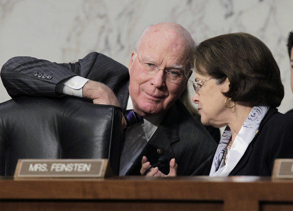 Sen. Patrick J. Leahy, who will remain chairman of the Senate Judiciary Committee, confers with Sen. Dianne Feinstein.