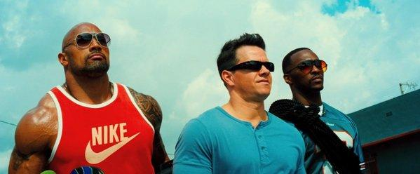 "The men of ""Pain and Gain"": Dwayne Johnson, left, Mark Wahlberg and Anthony Mackie."