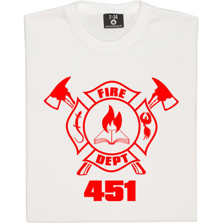 "Ray Bradbury's ""Fahrenheit 451"" comes to life on this fictional fire department T-shirt. (<a href=""http://www.redmolotov.com/catalogue/tshirts/music-tshirts/fahrenheit-451-tshirt.html"">$24 and up</a>)"