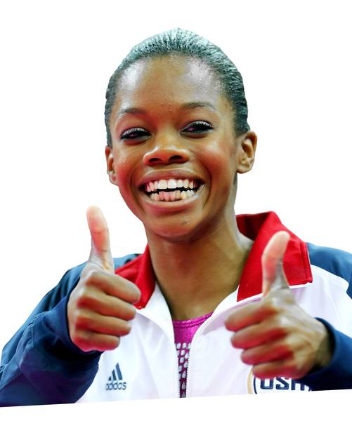 Gold medallist Gabrielle Douglas of the U.S. gives thumbs up after the women's individual all-around gymnastics final in the North Greenwich Arena at the London 2012 Olympic Games August 2, 2012. REUTERS/Mike Blake (BRITAIN - Tags: SPORT OLYMPICS SPORT GYMNASTICS) ORG XMIT: OLYCVI73