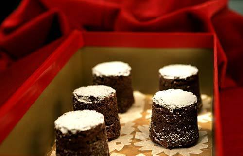 Chocolate bouchons have a texture that falls somewhere between a dense cake and denser brownie.