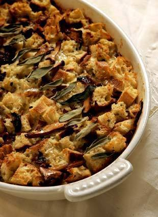 Chanterelle-sage bread pudding