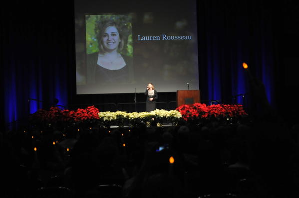 "Singer Amy Masse performs ""Wind Beneath my Wings"" during a candlelight video montage during a tribute to those killed at Sandy Hook Elementary School last Friday. Lauren Rousseau, one of the 26 people, including 20 children, that was massacred by 20 year old Adam Lanza."