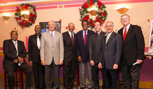 Flynn Robinson, second from left, joined other members from the Lakers' 1971-72 championship team for a fundraiser for the West Coast Sports Medicine Foundation last year. From left, Jim McMillian, Robinson, Jerry West, Jim Cleamons, Elgin Baylor, founder of WCSMF Keith Feder, Gail Goodrich and Keith Erickson.