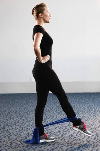 Stand straight with your feet under your hips. If you have a Thera-band, place it around the outside of both ankles so your feet are inside. (Get one for $15 at thera-band.com. They are color-coded to your level, so if you're a beginner, get the red one. If you don't have one, you can do the exercise without it.)<br /><br />Starting with your right leg, extend it straight forward to the maximum height the Thera-band will allow. Pulse and lift here 8 to 10 times. Repeat the exercise to the side and to the back and then switch to the left leg. Hands can be placed on your hips. This exercise also challenges your balance, which works your core muscles.