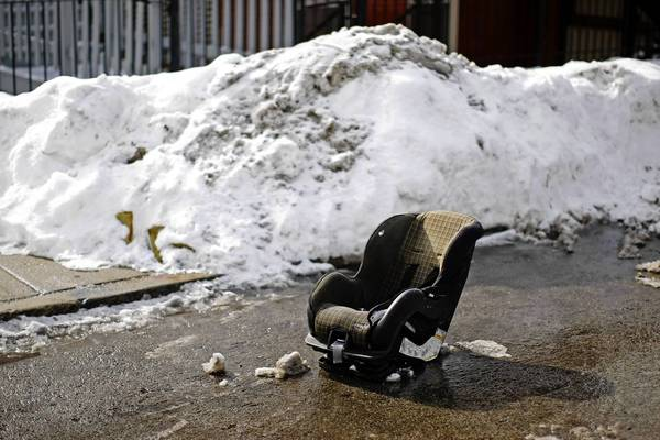 A child safety seat is used for Dibs in the Pilsen neighborhood in 2011.