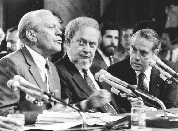 Gerald Ford, Robert Bork, Bob Dole at Senate Judiciary Committee hearing