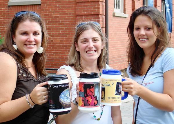 Teacher Lauren Rousseau (center) who died in the mass shooting at Sandy Hook Elementary School in Connecticut, was the niece of Steve and Brenda Bomgardner of Bethlehem Township. She's shown here at Musifkest in 2011 with her cousins, Kirsten Wiley (left) of Fairfax, Va., and Amy Bomgardner (right), who grew up in Bethlehem Township and now lives in Madison, Wisc.