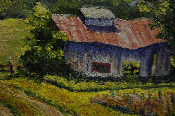 Sugar Shack, Vt., by Frances Miller displayed in the gallery at Blue Back Square in West Hartford Center where works by members of the West Hartford Art League are being exhibited for sale through Dec. 23.