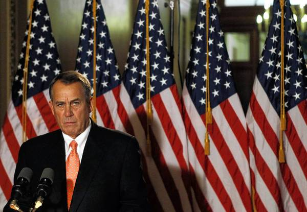House Speaker John Boehner makes a brief statement to the media on Wednesday.