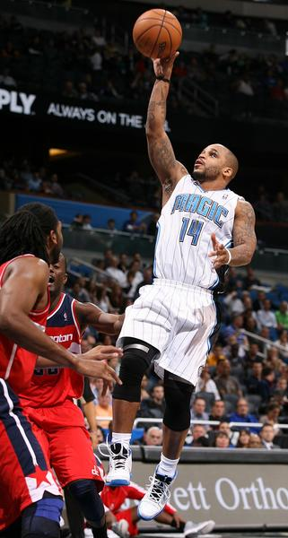 Orlando guard Jameer Nelson scores during the Washington Wizards at Orlando Magic NBA game at the Amway Center on Wednesday, December 19, 2012. Orlando won the game 90-83.