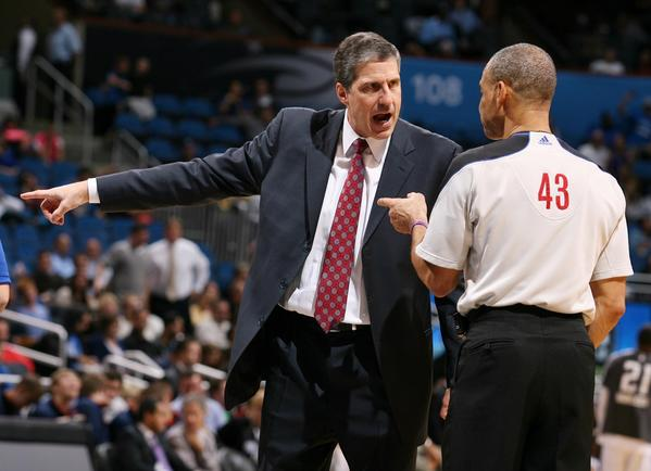 Washington head coach Randy Wittman yells at game official Dan Crawford during the Washington Wizards at Orlando Magic NBA game at the Amway Center on Wednesday, December 19, 2012. Orlando won the game 90-83.
