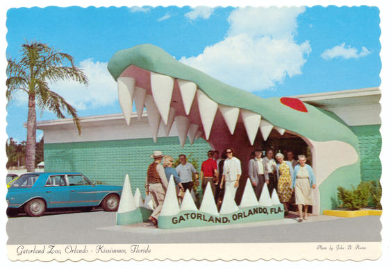 Gatorland's iconic 15-foot-tall entrance was completed in 1962, as shown in a postcard from the era.