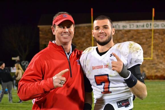Will Grier and his dad.coach Chad Grier, Davidson (N.C.) Day High School
