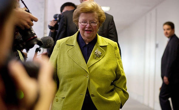 Senator Barbara Mikulski is expected to be approved as chair of the Senate Appropriations Committee on Thursday.
