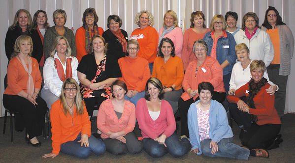 First row, from left, Pam Steiner, Justine Keltz, Sarah Cannady, Lisa Fennel and Kim Lee (kneeling). Middle row, Joanne Seilhamer, Tressa Nicewarner, Amanda Ford, Debbie Frew, Tracey Eberling, Kay Hoffman and Marlene Shank. Back row, Vicky McKenzie, Linda Shirey, Crista Shoemaker, Jerri McNew, Pam Cole, Susan Starsinic, Teri Leiter, Cindy Hutchinson, Teresa Magaha, Nancy McKinsey, Paula Stotler and Lois Walling. Not pictured: Leigh Hunter and Holly Luther.