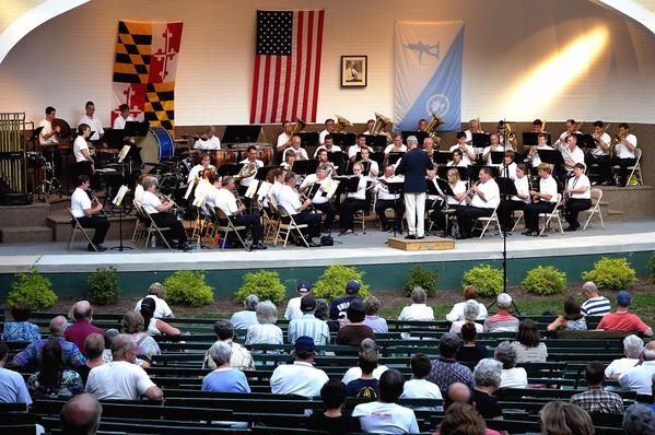 The Hagerstown Municipal Band, shown here at a summer concert at City Park, will perform a holiday concert Sunday at The Maryland Theatre. The Wind Band of Barbara Ingram School for the Arts will also perform.