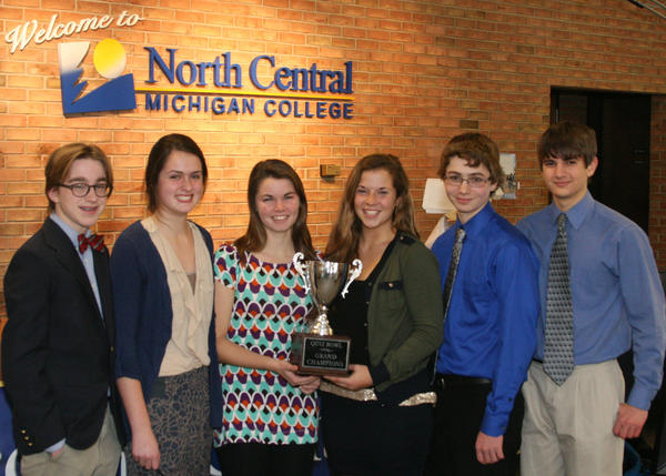 Members of the Petoskey High School A Team which won the championship title at the recent Char-Em ISD Quiz Bowl are (from left) Clem Turner, Delany Smith, Lisa Dinon, Reilly Philliben, Jeremiah Johnson and Chris Marsh.