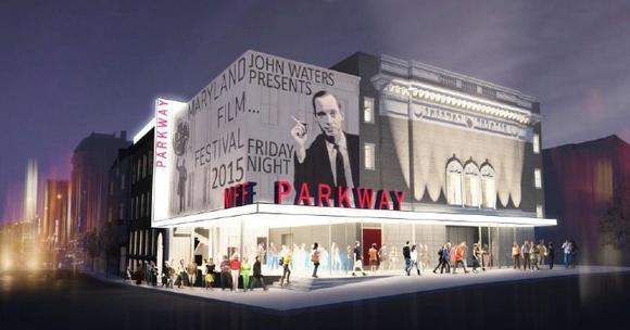 A Ziger/Snead architects rendering of the Maryland Film Festival's proposal for the renovation of the Parkway Theatre.