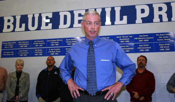 Sam Harp speaks in the Lebanon (Tenn.) locker room Wednesday after the longtime Danville football coach was introduced as the school's new coach. Harp won 276 games in 25 seasons at Danville and 326 in a 32-year career at three Kentucky schools.
