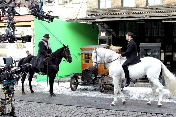 "Russell Crowe and Colin Farrell filming ""Winter's Tale"" in Manhattan."