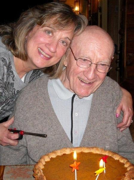 Forsyth celebrating his 92nd birthday with his daughter, Pamela.