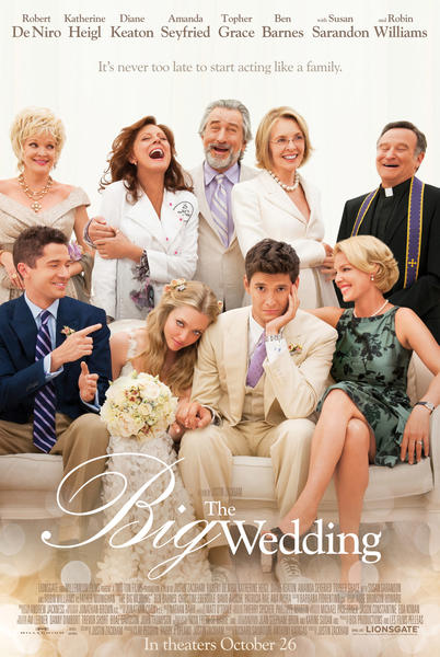 The Big Wedding features (from top left, clockwise) Christine Ebersole Susan Sarandon, Robert DeNiro, Diane Keaton, Robin Williams, Topher Grace, Amanda Seyfried, Ben Barnes, Katherine Heigel.