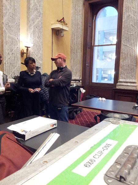 "Mayor Stephanie Rawlings-Blake on the City Hall set for HBO's ""VEEP."""
