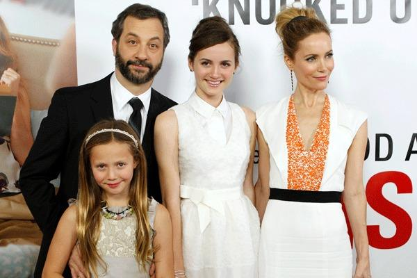 "Writer/director/producer Judd Apatow arrives with his family and cast members (from L) Iris Apatow, Maude Apatow and Leslie Mann at the premiere of the movie ""This is 40"" at Grauman's Chinese Theatre in Hollywood, California December 12, 2012."
