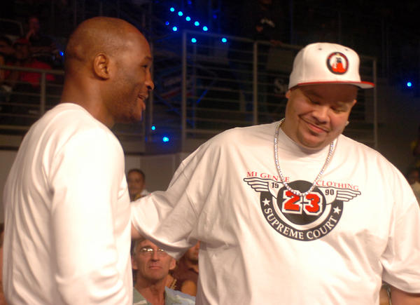 Boxer Bernard Hopkins, left, and Rapper Fat Joe are shown prior to the Samuel Peter James Toney WBC Heavyweight Championship elimination bout in 2006, at the Seminole Hard Rock Hotel & Casino in Hollywood