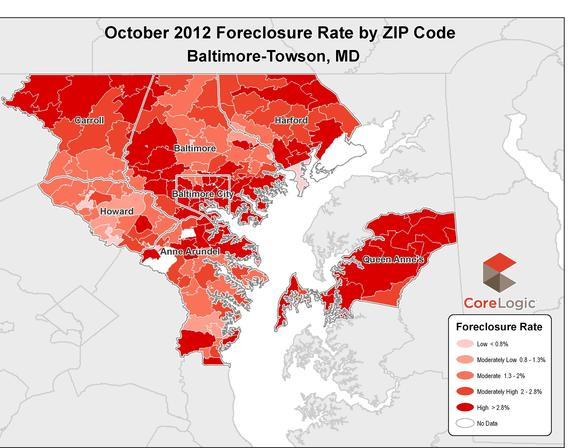 The foreclosure rate in the Greater Baltimore region was higher this October than last, according to CoreLogic.