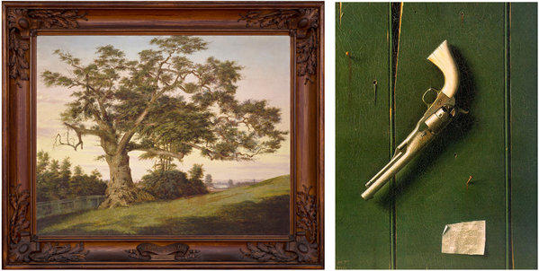 """The Charter Oak,"" left, by Charles De Wolf Brownell, depicts the town's large oak and the dome of gunmaker Colt's Manufacturing, just above the horizon. ""The Faithful Colt,"" right, by William Michael Harnett in 1890 evokes a family photo."