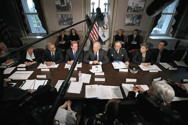 Vice President Joe Biden (C) leads the first meeting of the working group to explore solutions following the Newtown massacre with (L-R) National Troopers Coalition Chairman Mathew Hodapp, White House Senior Advisor Valerie Jarrett, Attorney General Eric Holder, National Association of Police Organizations President Thomas Nee, Philadelphia Police Commissioner Charles Ramsey, Homeland Security Secretary Janet Napolitano, Vice President Chief of Staff Bruce Reed and other law enforcement leaders from around the country and administration officials in the Eisenhower Executive Office Building in Washington, DC. President Barack Obama put Biden at the head of the working group that was formed in the wake of the second-deadliest school shooting in U.S history.