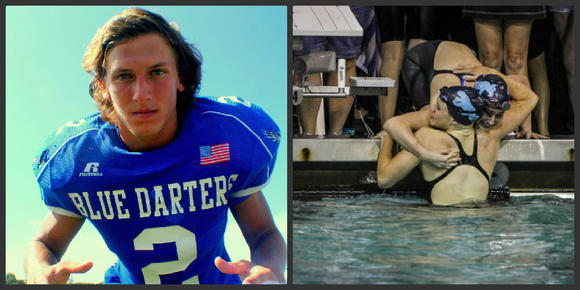 Apopka linebacker Garrett Spek and Dr. Phillips swimmers Angela Algee and teammate Alexandria Magrino celebrate after finishing first in the 200 freestyle relay. (Chris Hays, Orlando Sentinel, Joshua C. Cruey, Orlando Sentinel)